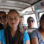 Allie, Carla, Claire, and Josefina in the combi